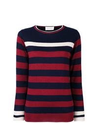 roter und dunkelblauer horizontal gestreifter Pullover mit einem Rundhalsausschnitt von Chiara Bertani