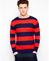 roter und dunkelblauer horizontal gestreifter Pullover mit einem Rundhalsausschnitt von GANT RUGGER