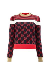 roter und dunkelblauer horizontal gestreifter Pullover mit einem Rundhalsausschnitt von Gucci