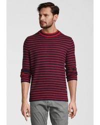 roter und dunkelblauer horizontal gestreifter Pullover mit einem Rundhalsausschnitt von Scotch & Soda