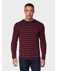 roter und dunkelblauer horizontal gestreifter Pullover mit einem Rundhalsausschnitt von Tom Tailor Denim