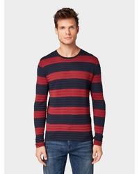 roter und dunkelblauer horizontal gestreifter Pullover mit einem Rundhalsausschnitt von Tom Tailor