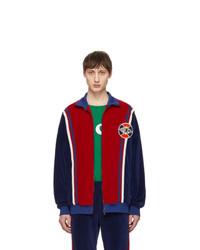 roter und dunkelblauer Pullover mit einem Reißverschluß von Gucci