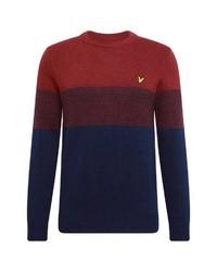 roter und dunkelblauer Pullover mit einem Rundhalsausschnitt von Lyle & Scott