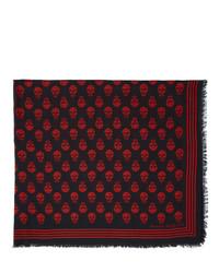 roter und schwarzer bedruckter Schal von Alexander McQueen