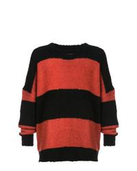 roter und schwarzer horizontal gestreifter Pullover mit einem Rundhalsausschnitt von Amiri