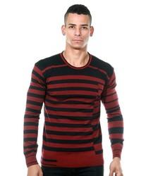roter und schwarzer horizontal gestreifter Pullover mit einem Rundhalsausschnitt von EX-PENT