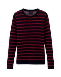 roter und schwarzer horizontal gestreifter Pullover mit einem Rundhalsausschnitt von Lexington