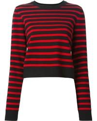 roter und schwarzer horizontal gestreifter Pullover mit einem Rundhalsausschnitt von Marc by Marc Jacobs