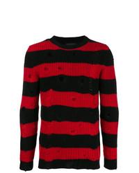 roter und schwarzer horizontal gestreifter Pullover mit einem Rundhalsausschnitt von Overcome