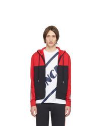 roter und schwarzer Pullover mit einem Kapuze von Moncler