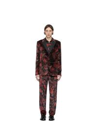 roter und schwarzer Samtanzug mit Blumenmuster von Paul Smith