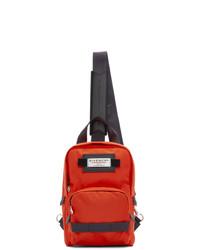 roter und schwarzer Segeltuch Rucksack