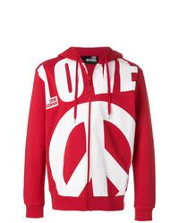 roter und weißer bedruckter Pullover mit einem Kapuze