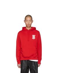 roter und weißer bedruckter Pullover mit einem Kapuze von Burberry