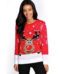 roter und weißer Pullover mit einem Rundhalsausschnitt mit Fair Isle-Muster
