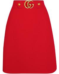 roter verzierter Seiderock von Gucci