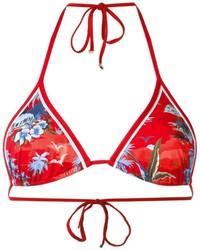 rotes bedrucktes Bikinioberteil von Dsquared2