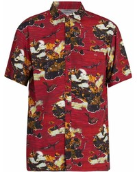 rotes bedrucktes Kurzarmhemd