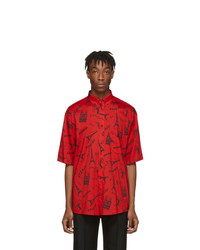 rotes bedrucktes Kurzarmhemd von Balenciaga