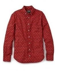 Rotes bedrucktes Langarmhemd