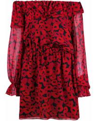 rotes bedrucktes schulterfreies Kleid von Saint Laurent