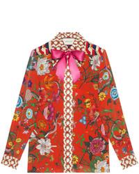 rotes bedrucktes Seidehemd von Gucci