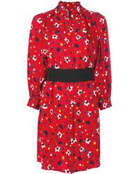 rotes bedrucktes Seideshirtkleid von Marc Jacobs