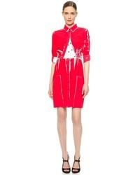 rotes bedrucktes Shirtkleid von Victoria Beckham