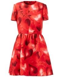 rotes bedrucktes Skaterkleid von Valentino