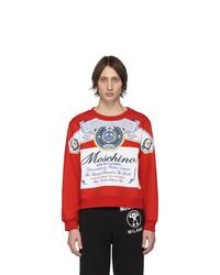 rotes bedrucktes Sweatshirt von Moschino