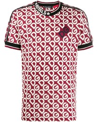 rotes bedrucktes T-Shirt mit einem Rundhalsausschnitt von Dolce & Gabbana