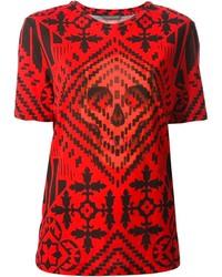 Rotes bedrucktes T-Shirt mit Rundhalsausschnitt von Alexander McQueen