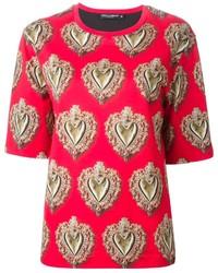 Rotes bedrucktes T-Shirt mit Rundhalsausschnitt von Dolce & Gabbana
