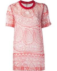 Rotes bedrucktes T-Shirt mit Rundhalsausschnitt von Giambattista Valli