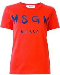 rotes bedrucktes T-Shirt mit einem Rundhalsausschnitt von MSGM