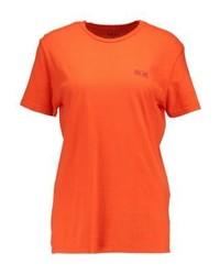 rotes bedrucktes T-Shirt mit einem Rundhalsausschnitt von Obey Clothing