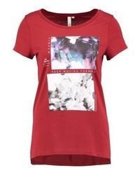rotes bedrucktes T-Shirt mit einem Rundhalsausschnitt von s.Oliver