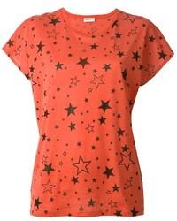 Rotes bedrucktes T-Shirt mit Rundhalsausschnitt von Saint Laurent