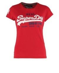 Rotes bedrucktes T-Shirt mit Rundhalsausschnitt von Superdry
