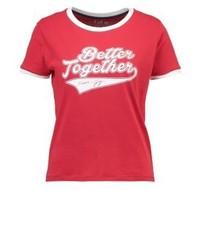 Rotes bedrucktes T-Shirt mit Rundhalsausschnitt von Tommy Hilfiger