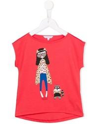 rotes bedrucktes T-shirt von Little Marc Jacobs