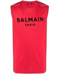 rotes bedrucktes Trägershirt von Balmain