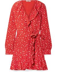 rotes bedrucktes Wickelkleid aus Seide von Miu Miu