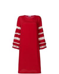 rotes besticktes gerade geschnittenes Kleid von P.A.R.O.S.H.