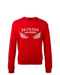 rotes besticktes Sweatshirt von DSQUARED2