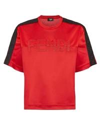 rotes besticktes T-Shirt mit einem Rundhalsausschnitt von Fendi