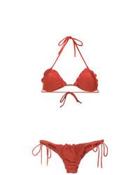 rotes Bikinioberteil mit Rüschen von Lygia & Nanny
