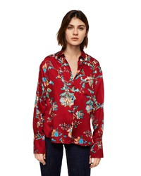 rotes Businesshemd mit Blumenmuster von Mango