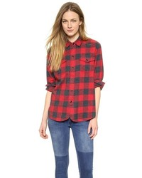 rotes Businesshemd mit Vichy-Muster von Madewell